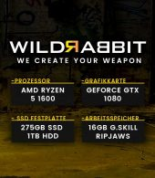 Wildrabbit A Gamer 1650, R5-1600X,GTX-1080 8GB, 16GB RAM, 275GB SSD, 1TB HDD, Gamer PC
