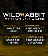 Wildrabbit A Gamer 1920, AMD-1920X, GTX-1080 8GB, 32GB RAM, 500GB SSD, 3TB HDD, Gamer PC