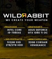 Wildrabbit I Gaming 7980, i9-7980XE, GTX-1080Ti 11GB, 32GB RAM, 512GB SSD, 4TB HDD, Gamer PC