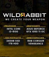 Wildrabbit I Gaming 8100, i3-8100, GTX 1050Ti 4GB, 8GB RAM, 240GB SSD, 1TB HDD, Gamer PC