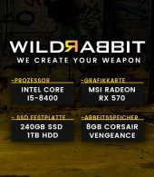 Wildrabbit I Gaming 8400, i5-8400, RX-570, 8GB RAM, 240GB SSD, 1TB HDD, Gamer PC