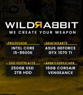 Wildrabbit I Gaming 8650, i5-8600K, GTX 1070Ti 8GB, 16GB SSD, 2TB HDD, Gamer PC